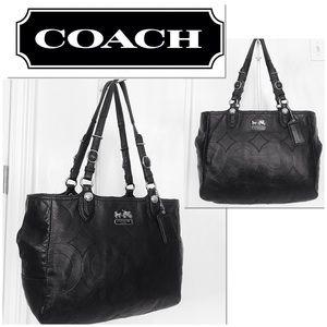 Coach Mia Black Leather Embossed Signature Tote
